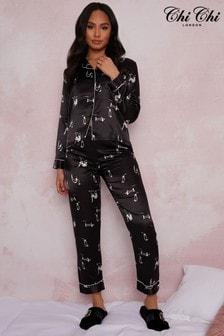 Chi Chi London Black Long Sleeve Graphic Print Pyjamas In Black