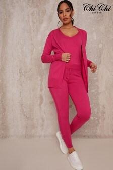 Chi Chi London Pink/Red 3 Piece Cardigan Lounge Wear Set