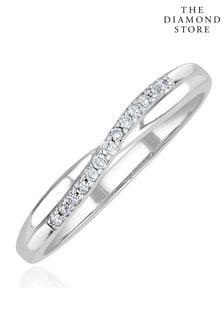 The Diamond Store 925 Silver Lab Diamond Half Eternity Wave Ring 0.05ct