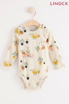 Lindex Cream Print Baby Long Sleeved Bodysuit