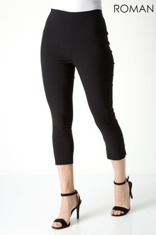 Roman Black Cropped Stretch Trouser