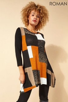 Roman Black Colour Block Tunic
