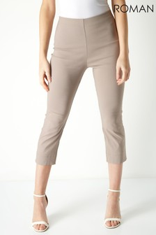 Roman Taupe Cropped Stretch Trouser
