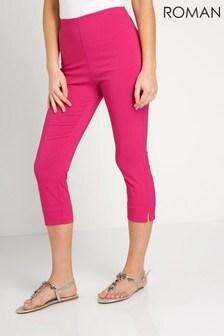 Roman Cerise Pink Cropped Stretch Trouser