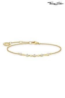 Thomas Sabo Gold Charming Collection Cubic Zirconia Baguettes Adjustable Bracelet