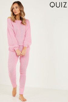 Quiz Pink Knitted Slash Neck Lounge Set
