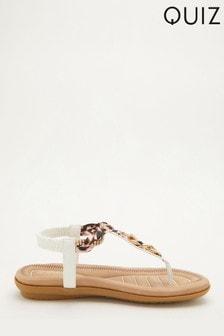 Quiz White Comfort Chain Embellished Sandal