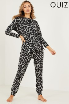 Quiz Grey Leopard Print Knitted Lounge Set
