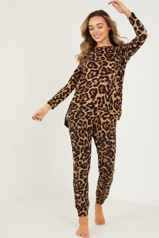 Quiz Brown Leopard Print Knitted Lounge Set