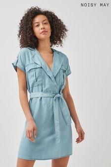 Noisy May Light Blue Denim Tencel Utility Shirt Dress