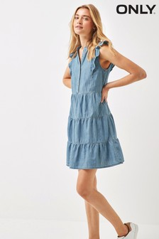 Only Medium Blue Denim Ruffle Detail Denim Tiered Smock Dress