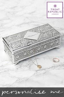 Personalised Silver Trinket Box by Treat Republic