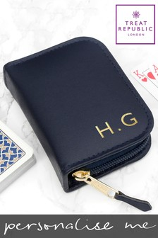 Personalised Leather Playing Card Case by Treat Republic