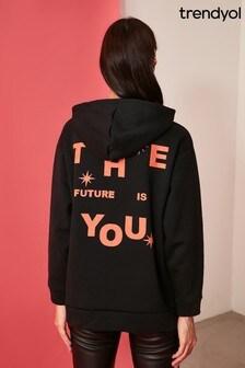 Trendyol Black The Future Is You Slogan Hoodie