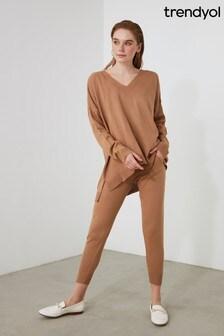 Trendyol Camel V Neck Lounge Co-Ord