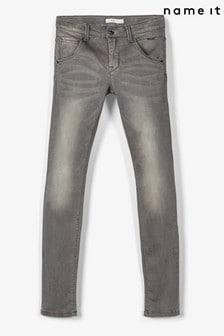 Name It Dark Grey Denim Adjustable Waist Super Stretch Slim Leg Jeans