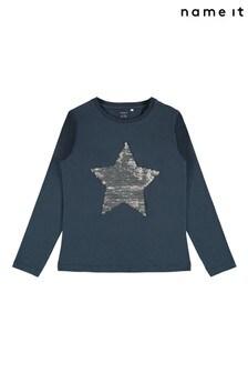 Name It Navy Star Flippy Sequin Long Sleeve T-Shirt