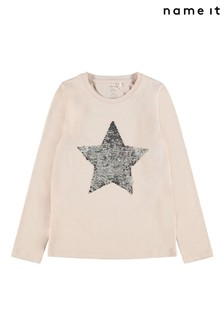 Name It Pink Star Flippy Sequin Long Sleeve T-Shirt