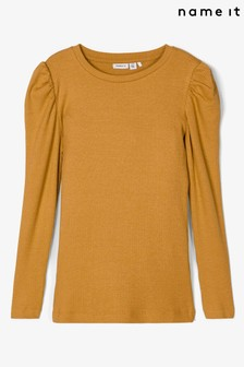 Name It Yellow Ribbed Puff Sleeve Long Sleeve Top
