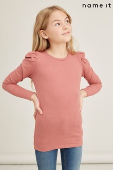 Name It Withered Rose Ribbed Puff Sleeve Long Sleeve Top