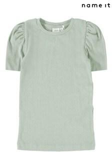 Name It Desert Sage Ribbed Puff Sleeve Short Sleeve T-Shirt