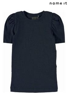 Name It Navy Ribbed Puff Sleeve Short Sleeve T-Shirt