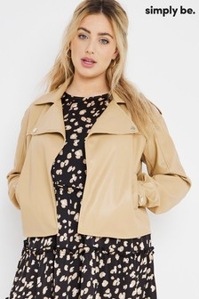 Simply Be Brown Oversized Relaxed PU Jacket