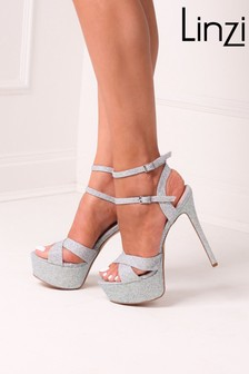 Linzi Silver Mia Heavy Stiletto Platform With Double Ankle Strap Crossover Front Strap