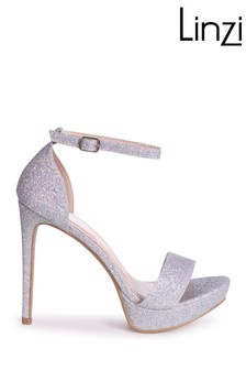 Linzi Silver Sophia Barely There Stiletto Platform Heels