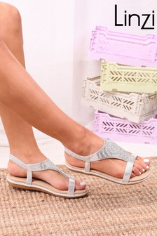 Linzi Silver May Faux Leather Sandal With Padded Inner  Diamante Front Detail