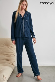 Trendyol Navy White Piping Pyjamas