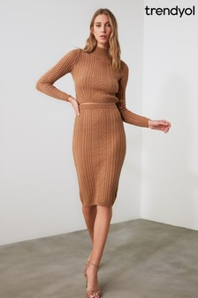 Trendyol Brown Knit Roll Neck And Skirt Co-ord