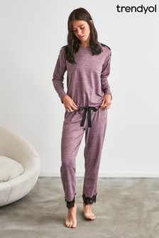 Trendyol Purple Lace Trim Tie Pyjamas