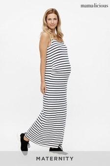 Mamalicious Snow White Maternity Jersey Stripe Maxi Dress