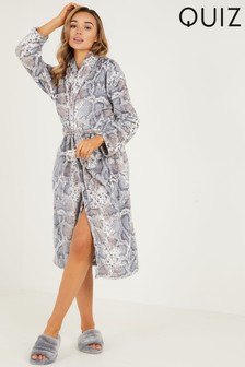 Quiz Grey Snake Print Fleeve Robe