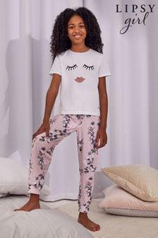 Lipsy Pink Floral Short Sleeve Long Leg Pyjama Set