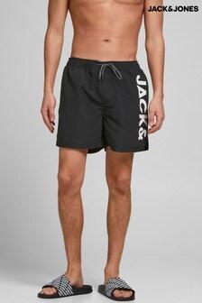 Jack & Jones Black Drawstring Swim Shorts With Logo