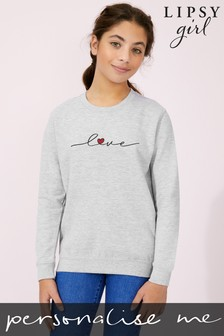 Personalised Lipsy Love Heart Script Kid's Sweatshirt by Instajunction