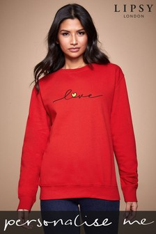 Personalised Lipsy Love Heart Script Women's Sweatshirt by Instajunction