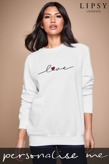 Personalised Lipsy Love Heart Script Women's Sweatshirt by Instajunction