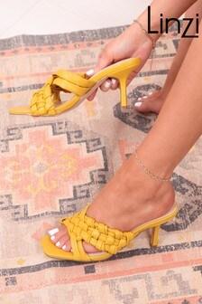 Linzi Yellow Natalya Faux Leather Hand Weaved Heeled Mule