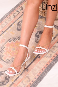 Linzi White Karma Faux Leather Chain Embellished Heel