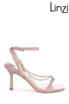 Linzi Nude Karma Faux Leather Chain Embellished Heel