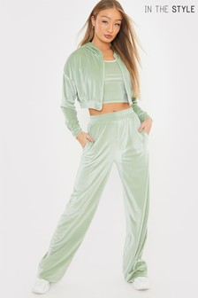 In The Style Green Shaugna Phillips Velour Wide Leg Jogger