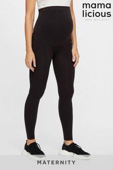 Mamalicious Black Maternity Over The Bump Seamless Comfort Leggings