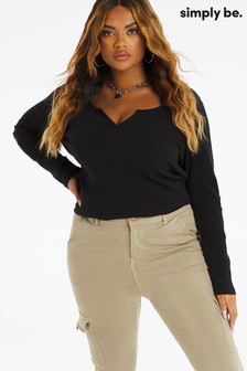 Simply Be Black Notch Front Long Sleeve Ribbed Tunic
