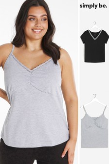 Simply Be Grey Essentials Two Pack Tops