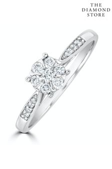 The Diamond Store White Lab Diamond Engagement Ring With Shoulders 0.25ct H/Si in 925 Silver