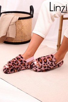 Linzi Pink Leopard Comfy Fluffy Slingback Slippers With Platform Sole