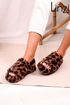 Linzi Brown Leopard Comfy Fluffy Slingback Slippers With Platform Sole
